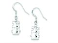 Sterling Silver Polished Cubic Zirconia Puzzle Pieces Dangle Earrings