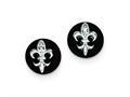 Finejewelers Sterling Silver Cubic Zirconia Fleur De Lis On Onyx Circle Stud Earrings