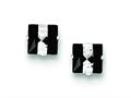Finejewelers Sterling Silver Black And White Colored Cubic Zirconia 6mm Square Post Earrings