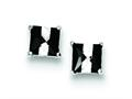 Sterling Silver Black And White Colored Cubic Zirconia 5mm Square Post Earrings