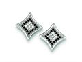 Sterling Silver Black And White Cubic Zirconia Pave Square Post Earrings
