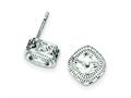 Sterling Silver Cubic Zirconia Square S Border Earrings