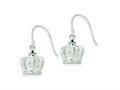 Sterling Silver Cubic Zirconia 3D Crown Shepherd Hook Earrings