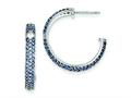 Sterling Silver Blue and Clear Cubic Zirconia Half Hoop Post Earrings