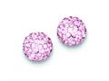 Sterling Silver 10mm Pink Cubic Zirconiaech Crystal Post Earrings