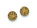 Sterling Silver 8mm Golden Cubic Zirconiaech Crystal Post Earrings