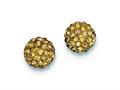 Sterling Silver 10mm Golden Cubic Zirconiaech Crystal Post Earrings