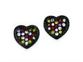 Sterling Silver Black Rhodium Multi-colored Cubic Zirconia Heart Post Earrings