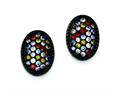 Sterling Silver Black Rhodium Multi-colored Cubic Zirconia Oval Post Earrings