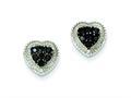 Sterling Silver Black Cubic Zirconia Heart Post Earrings
