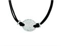 Sterling Silver Cubic Zirconia Black Fabric Cord Necklace