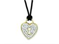 Sterling Silver Cubic Zirconia Heart Black Wool Cord Necklace