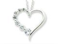 Sterling Silver Cubic Zirconia Heart Journey Necklace