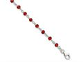 Sterling Silver Dark Red Cubic Zirconia Polished Bracelet