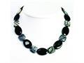 Sterling Silver Black Agate and Zebra Jasper Necklace