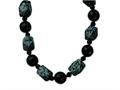 Sterling Silver 14mm and16mm Black Agate/snowflake Agate Necklace