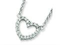 Sterling Silver Cubic Zirconia Heart Pendant Necklace W/chain - Chain Included