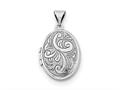 Finejewelers Sterling Silver Rhodium-plated Oval Locket Pendant Necklace 18 inch chain included