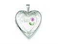 Sterling Silver 20mm D/c and Enameled Mom Heart Locket Necklace