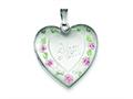 Sterling Silver 24mm Enameled, D/c Mom Heart Locket Necklace