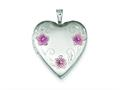 Sterling Silver 20mm Satin, D/c and Enameled Flower Heart Locket