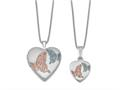 Finejewelers Sterling Silver Rhodium-plated Satin Enamel Butterflies Heart Locket And Small Pendant Set 18 inch chain in