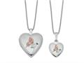 Finejewelers Sterling Silver Rhodium-plated Polished And Satin Butterfly Heart Locket And Small Pendant Set 18 inch chai