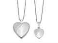 Finejewelers Sterling Silver Rhodium-plated Polished Swirl Design Heart Locket And Pendant Set 18 inch chain included