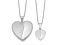 Finejewelers Sterling Silver Rhodium-plated Polished And Satin Heart Locket And Pendant Set 18 inch chain included