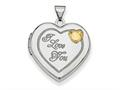 Finejewelers Sterling Silver Rhodium-plated W/gold-plate 21mm Heart Locket Pendant Necklace 18 inch chain included
