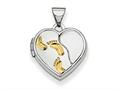 Finejewelers Sterling Silver Rhodium-plated W/gold-plate 15m Heart Foot Prints Locket Pendant Necklace 18 inch chain inc