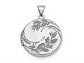 Finejewelers Sterling Silver Rhodium-plated 20mm Round Leaf Floral Locket Pendant Necklace 18 inch chain included