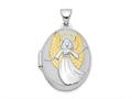 Finejewelers Sterling Silver Rhodium-plated W/gold-plate Oval Guardian Angel Locket Pendant Necklace 18 inch chain inclu