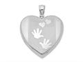 Finejewelers Sterling Silver Rhodium-plated Handprints Heart Locket Pendant Necklace 18 inch chain included