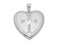 Finejewelers Sterling Silver Rhodium-plated Dove With Cross Heart Locket Pendant Necklace 18 inch chain included