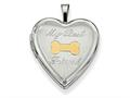 Finejewelers Sterling Silver Rhodium-plated Gold-plate My Best Friend Dog Bone Heart Loc 18 inch chain included