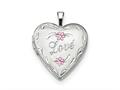 Finejewelers Sterling Silver Rhodium-plated Enameled Love Heart Locket Pendant Necklace 18 inch chain included