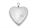 Finejewelers Sterling Silver Rhodium-plated Crystal Heart Locket Pendant Necklace 18 inch chain included