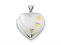 Finejewelers Sterling Silver Rhodium-plated W/gold-plating Heart Locket Pendant Necklace 18 inch chain included