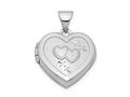Finejewelers Sterling Silver Rhodium-plated 15mm Double Heart On Heart Locket Pendant Necklace 18 inch chain included
