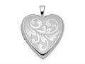 Finejewelers Sterling Silver Rhodium-plated Textured and Polished Swirl Heart Locket Pendant Necklace 18 inch chain incl