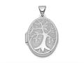 Finejewelers Sterling Silver Rhodium-plated 21x16mm Oval Tree Locket Pendant Necklace 18 inch chain included