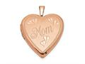 Finejewelers Sterling Silver Rose Gold-plated 20mm Mom Heart Locket Pendant Necklace 18 inch chain included