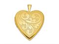 Finejewelers Sterling Silver 20mm Gold Plated Textured/polish Swirl Heart Locket Pendant Necklace 18 inch chain included