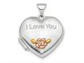 Finejewelers Sterling Silver Rhodium-plate Rose and Gold-tone Flower I Love You Locket Pendant Necklace 18 inch chain in