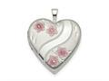 Finejewelers Sterling Silver 20mm Pink Enamel Flower Heart Locket Pendant Necklace 18 inch chain included