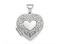 Finejewelers Sterling Silver Rhod-plated Scroll Design Front and Back 15mm Heart Locket Pendant Necklace 18 inch chain i