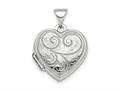 Finejewelers Sterling Silver Rhodium-plated Polished 15mm Heart Patterned Locket Pendant Necklace 18 inch chain included