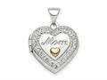 Finejewelers Sterling Silver Rhodium-plate Gold-tone Preciosa Crystal Mom Locket Pendant Necklace 18 inch chain included