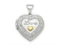 Finejewelers Sterling Silver Rhodium-plate Gold-tone Preciosa Crystal Love Locket Pendant Necklace 18 inch chain include